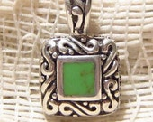 Sterling Silver with Green Turquoise Pendant