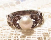 Vintage Sterling Silver with Faux Pearl Ring by Avon Size 5 1/2 Reserved