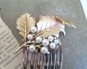 New Years Eve Jewelry Fashion Hair Comb Gold Leaves Wedding Hairpiece Bridal Hairpin Vintage Trifari Brooch - ElmPlace