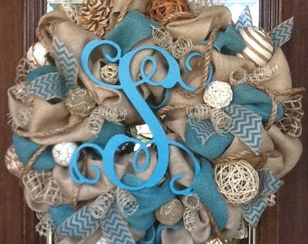 BURLAP and TURQUOISE INITIAL Wreath