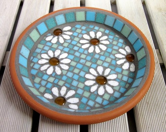 Pastel White Daisy Garden Yard Mosaic Bird Bath Birdbath Decor