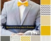 Men's mustard & grey bowties -  chevron seersucker pin dot goldenrod sunshine yellow gray groom bow tie groomsmen usher father ring bearer