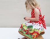 Little girls party dress- gnome print