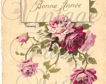 French Antique Postcard Shabby Pink Roses Post Card from Vintage Paper Attic
