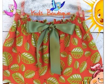 Orange and green leaves skirt for fall,winter summer,school outfit