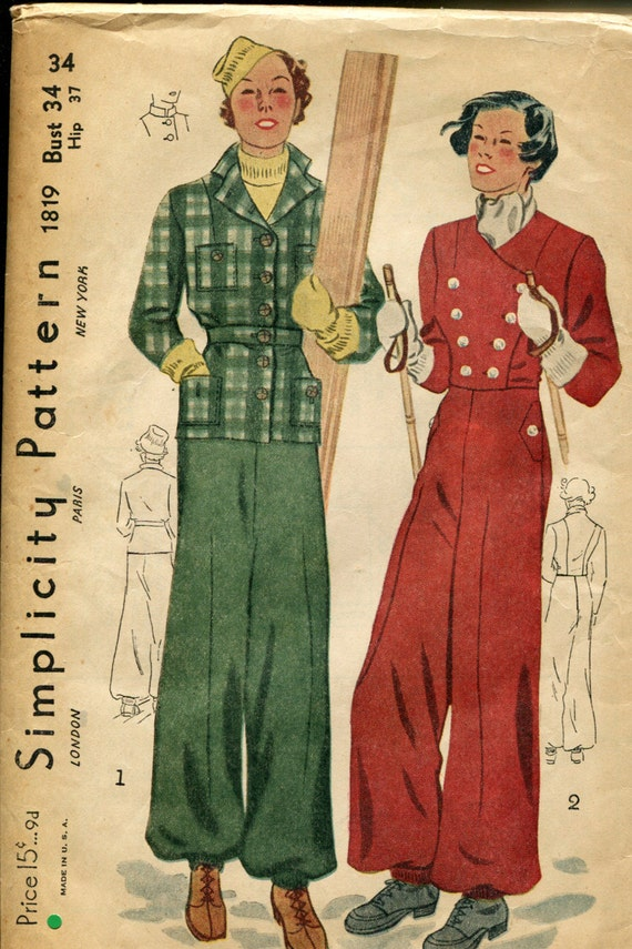 1940s ski suit pattern found on Etsy
