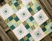 Baby Girl Quilt, designer fabrics, daisy toddler blanket, baby shower gift, blue and green