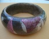 Vintage Snakeskin Bangle Bracelet - Multi Color Bangle