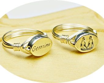 Gemini Ring- Your Choice of Gemini Word or Zodiac Symbol Sterling Silver Filled Wire Wrap Ring-Size 4, 5, 6, 7, 8, 9, 10, 11, 12, 13,14