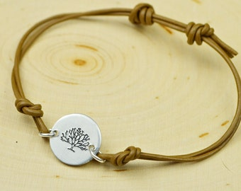 Tree of Life Leather Adjustable Bracelet- Hand Stamped Aluminum and Leather Cord Bracelet
