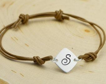 Any Initial Monogrammed Letter Leather Adjustable Sqaure Bracelet- Hand Stamped Aluminum Black or Brown Bracelet