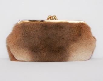 Vintage 1960s Fur Clutch Bag / 60s Brown Coin Purse