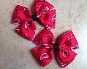 Red Bandana Bow, Cowgirl Bow, Simple Bow, Small Bow, Pigtail Bandana Bows, Newborn Bow, Baby Bow, Toddler Bow, Rodeo Bow, Cowboy Bow