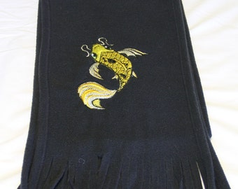 Black Embroidered Scarf with Koi design