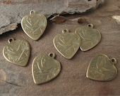 Brass Swallow Bird Heart Charms Textured Flat Stampings Oxidized Finish American Made (6)