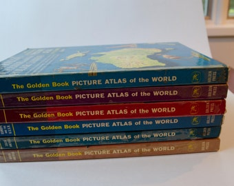 Vintage Children's Atlas --The Golden Book Picture Atlas of the World, Five Volumes, 1960