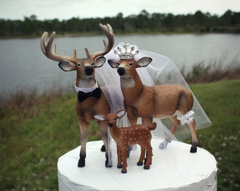 Buck doe fawn-family-wedding-cake topper-custom-bride groom-family-deer-rustic-camouflage-hunter-hunting-groom's-white tail-princess-tiara