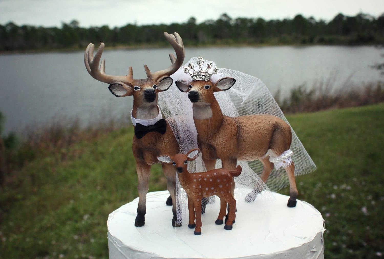 Buck Doe Fawn Family Wedding Cake Topper Custom Bride