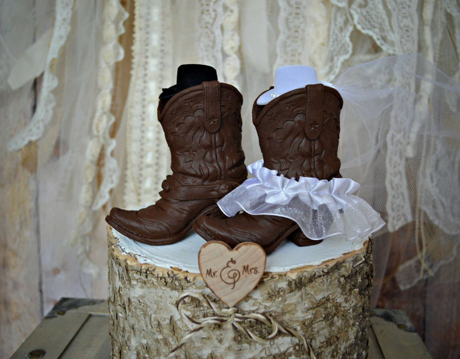 Country Western Wedding Cake Topper Cowgirl Boots Cowboy