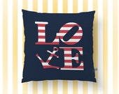 Anchor Throw Pillow | Americana Love Red White Blue  | Accent Pillow | Nautical Home Decor Indoor or  Available
