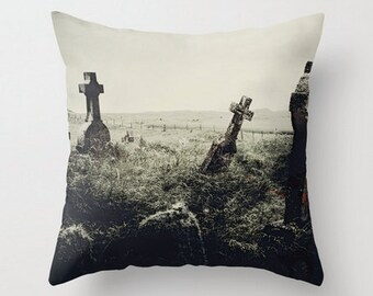 Graveyard Throw Pillow Bloodshot Eye Spooky Halloween Home Decor Product Sizes and Pricing via Dropdown Menu