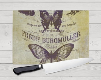 Glass Cutting Board - Butterfly Design Small or Large Kitchen Art for Your Countertop.