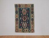 Vintage Handwoven Wool Kilim Rug