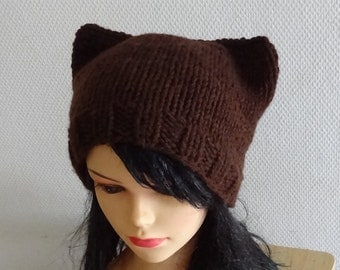Cat Ears Hat Cat Beanie Chunky Knit Winter Accessories Animals Hat  cat ears hat brown