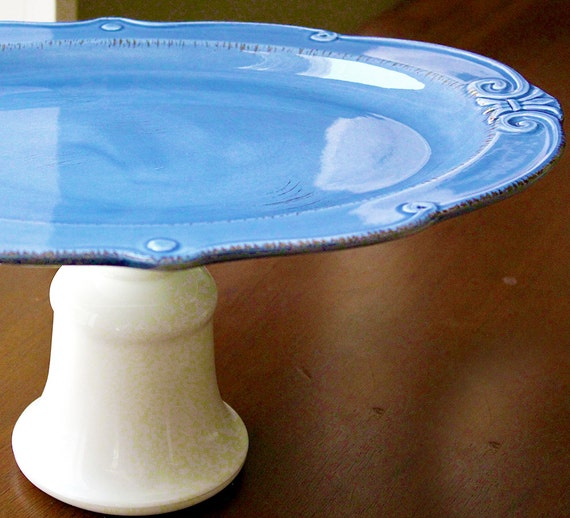 "Royal Blue Cake Stand - 15"" Oval Dessert Pedestal / Hors d'oeuvre Tray Cookie Platter / Serving Dish / Cupcake Stand"