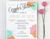 Couples Shower Invitation Bridal Shower Invitation Custom Invite Jack and Jill Shower Coed Shower Modern Vintage Wedding Floral Invitation