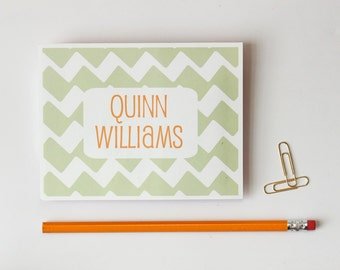 Personalized Note Cards Stationery Custom Stationary Orange and Tan Taupe Chevron Boys Thank You Notes Customized Neutral Colors / Set of 10