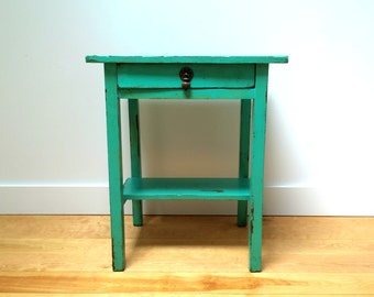 Small Antique Turquoise Painted Side Table With Drawer