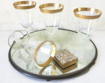 On Sale Vintage Drinkware Barware Goblets Wine Water Glasses Midcentury Goblets Ornate Gold Fluted Glasses Champagne Glasses Water Goblets