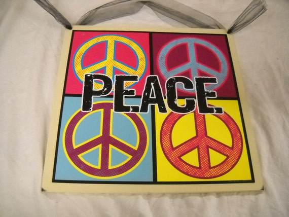 Peace Sign Bedroom Accessories: Items Similar To Peace Color Blocks Wall Art Sign Girls