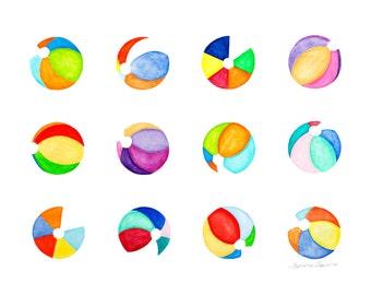 Contemporary Art Watercolor Beach Ball Print