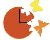 Butterflies in the Skies Wall Clock Orange Yellow Freedom