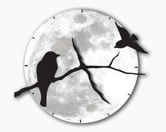 Birds on Tree Shadows Wall Moon Clock