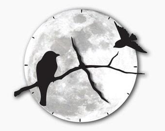 Birds on Tree Shadows Wall Moon Clock