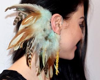 Feather Ear Cuff, Wrap Earring, Ear Wrap, Feather Ear Wrap, Festival Earrings, Turquoise Feather Earrings