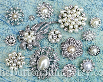 Rhinestone Buttons and Brooch Mix - Pearls - 104- 10 piece set