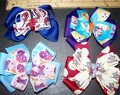 4 Pinwheel Character Boutique Hair Bow Set #6 Rag Doll Guppies Abby Monkey
