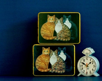 metal tins x2 cat themed kitty tin pair Case Stationery