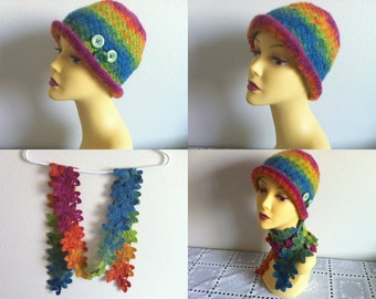Crocheted Rainbow Hat And Scarf Set, Winter Women Fashion Scarf Set