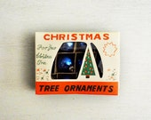 Vintage Feather Tree Ornaments, Set of 12 with Box, Mini Christmas Ornaments, Blue Christmas Ornaments