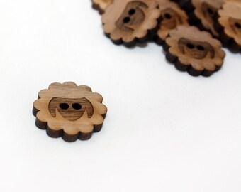 Sheep Walnut Round Button, Laser Cut Wood