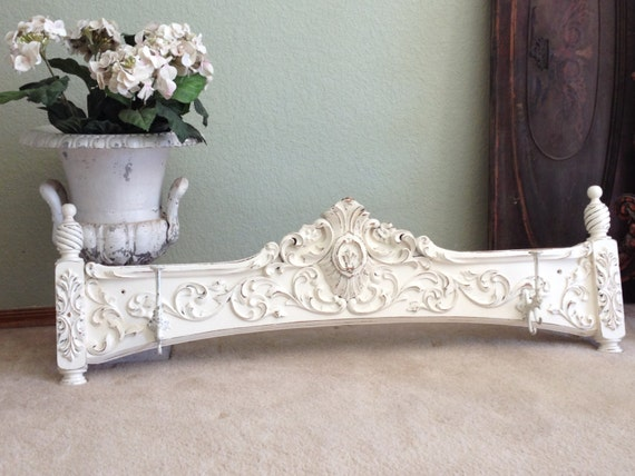 Fabulous COAT RACK - White Painted Shabby Chic Very Ornate Carved Old Wood Architectural Hanging Wall Rack