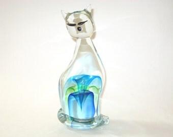 "Barbini Murano Sommerso Large 10"" Cat Figure  - Italian Art Glass Sculpture"