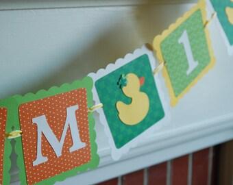 Duck I am 1 Banner, Duck 1st Birthday, Rubber Duck Birthday, Rubber Duckie Banner, Birthday Banner, Lime, Orange, Yellow, Shamrock
