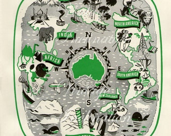 1940s Antique AUSTRALIA Vintage continent map original color green map for framing
