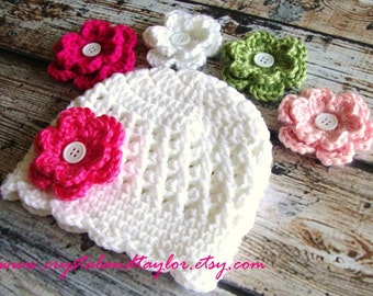 Baby Girl Hat in White with 4 Flower Options, 23 Flowers to Choose From, Crochet Hat, Baby Hat, Newborn Hat